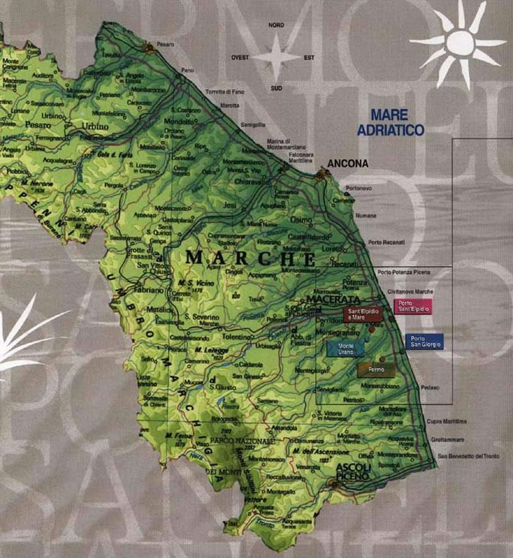Cartina Marche Geografica.Cartine Geografiche Marche Cartina Color Verde