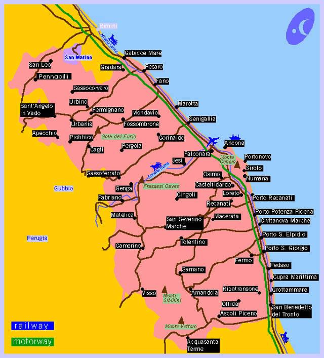 Cartina Topografica Marche.Cartine Geografiche Piantina Marche